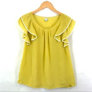 Anthropologie ODILLE Flutter Sleeve Silk Top A3
